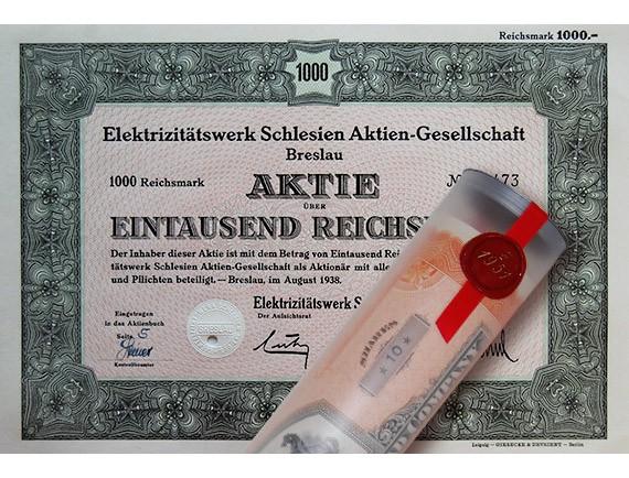 Aktie 1938 E-WERK SCHLESIEN BRESLAU in Geschenkrolle