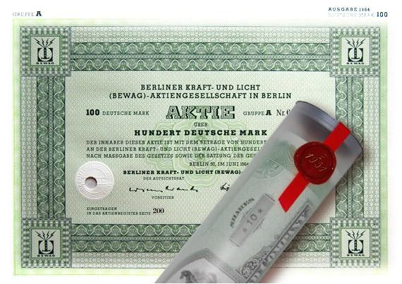 Aktie 1964 BERLINER KRAFT-LICHT in Geschenkrolle