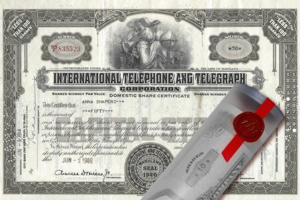 Aktie 1946 INTERNATIONAL TELEPHONE in Geschenkrolle
