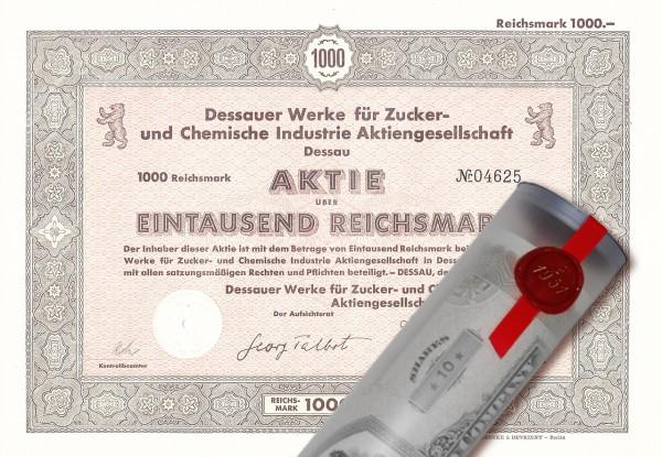 Aktie 1942 Dessauer Werke AG in edler Geschenkrolle