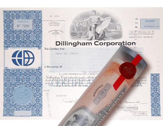 Aktie 1981 DILLINGHAM BAU in erlesener Geschenkrolle