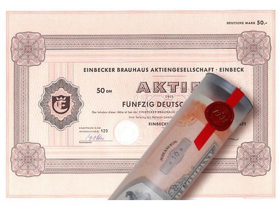 Aktie 1972 BRAUHAUS EINBECK in erlesener Geschenkrolle