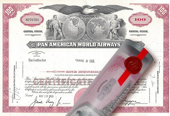 Aktie 1966 PAN AMERICA AIRWAYS in edler Geschenkrolle