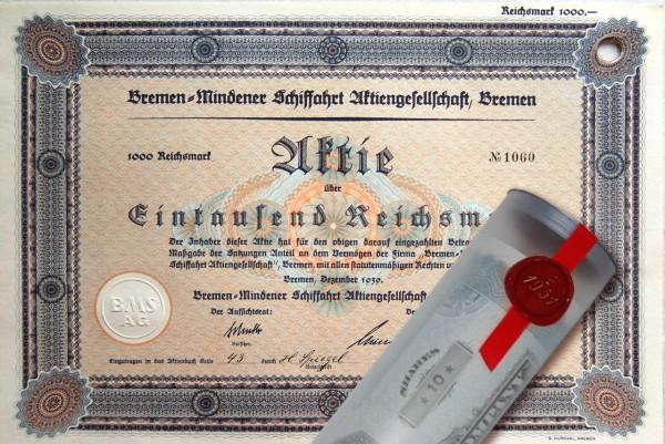 Aktie 1939 SCHIFFFAHRT BREMEN in Geschenkrolle
