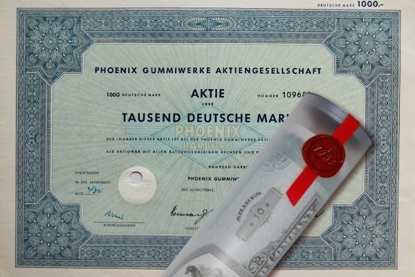 Aktie 1965 Phoenix Gummi AG Harburg in Geschenkrolle