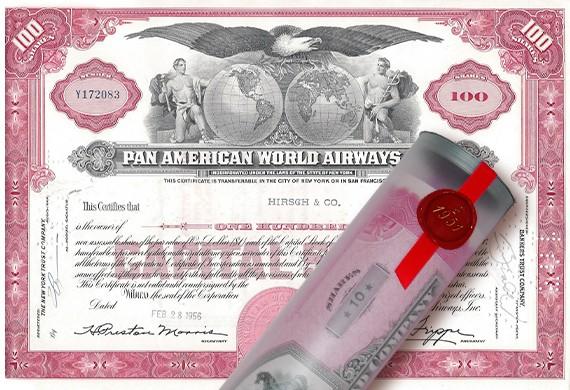 Aktie 1956 PAN AMERICA AIRWAYS in Geschenkrolle