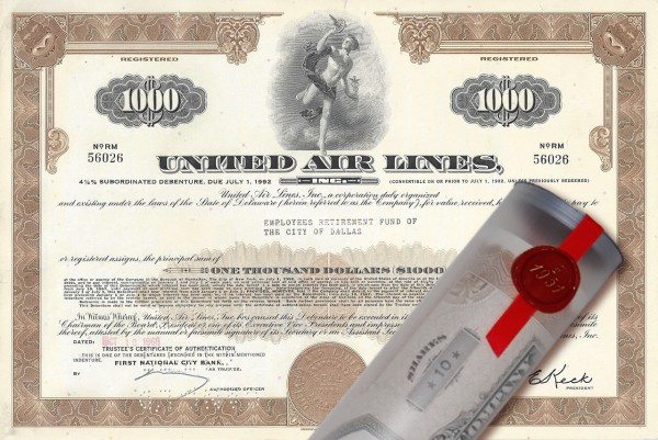 Aktie 1968 United Air Lines in edler Geschenkrolle