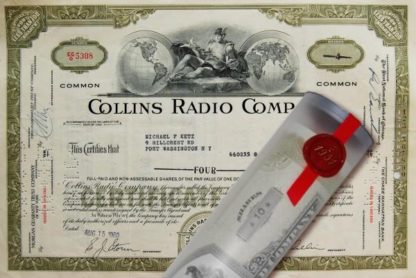 Aktie 1960 COLLINS RADIO COMPANY in Geschenkrolle