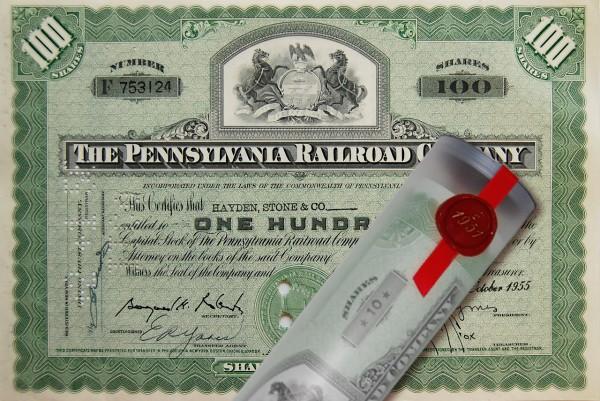 Aktie 1955 PENNSYLVANIA RAILROAD in Geschenkrolle