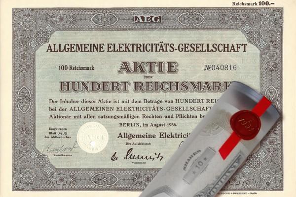 Aktie 1936 AEG in Geschenkrolle