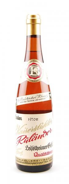 Wein 1970 Kaiserstühler Ruländer Leiselheimer Gestühl