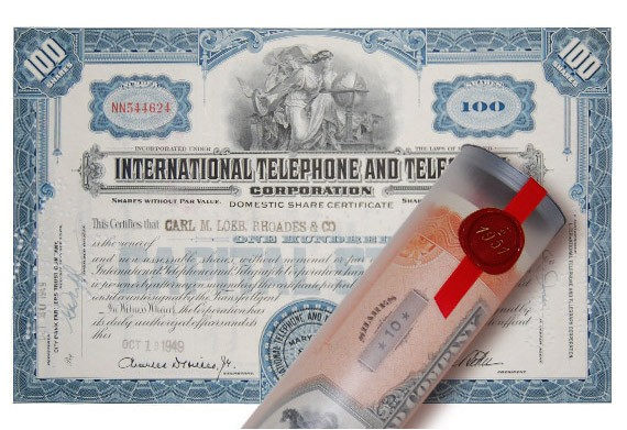 Aktie 1949 INTERNATIONAL TELEPHONE in Geschenkrolle