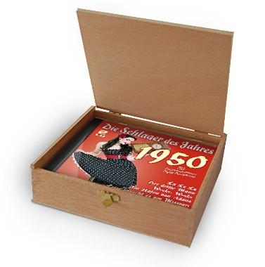 CD 1950 Schlager in Holzkiste mit Banderole und Siegel