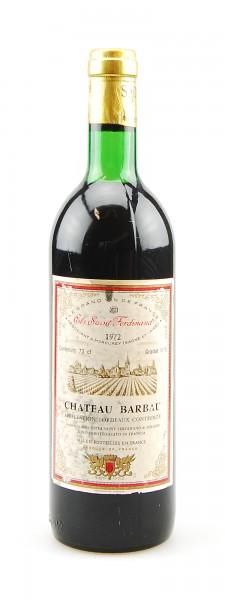 Wein 1972 Chateau Barbau Ets. Saint Ferdinand