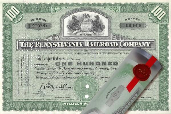 Aktie 1946 PENNSYLVANIA RAILROAD in Geschenkrolle