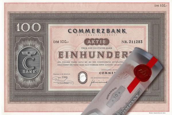 Aktie 1958 COMMERZBANK in edler Geschenkrolle