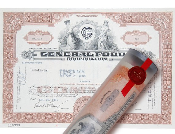 Aktie 1971 GENERAL FOODS in edler Geschenkrolle