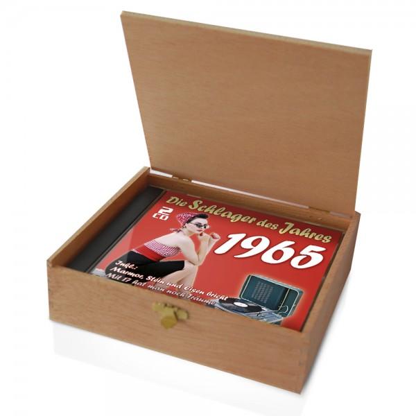 CD 1965 Schlager in Holzkiste mit Banderole und Siegel