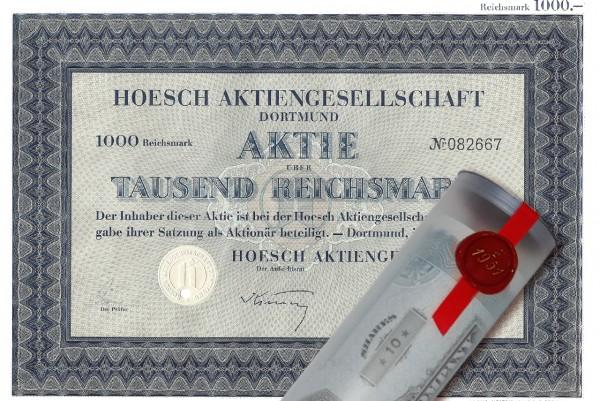 Aktie 1943 HOESCH AG in erlesener Geschenkrolle