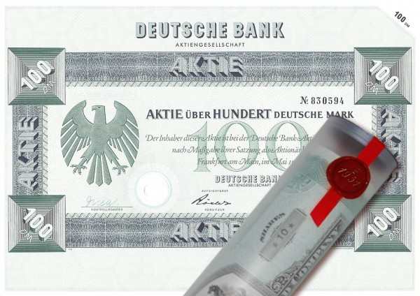Aktie 1957 DEUTSCHE BANK in edler Geschenkrolle