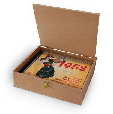 CD 1953 Schlager in Holzkiste mit Banderole und Siegel