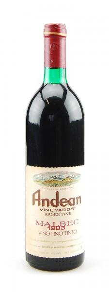 Wein 1983 Andean Malbec Vineyards Argentine